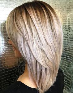 hair lengths medium layers Medium Hairstyle With V-Cut Layers Haircut For Thick Hair, Haircuts For Long Hair, Hairstyles Haircuts, Straight Hairstyles, Haircut Medium, Haircut Layers, Elegant Hairstyles, Short Haircuts, Formal Hairstyles