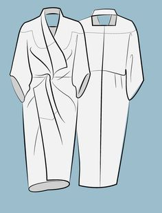 Sketch of zero waste design - kimono twist garment pattern
