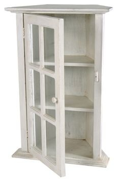 Small Corner Cabinet Glass Front Display White