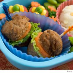 Here's how to make an easy hamburger bento lunch box using a mashed potatoes, meatballs and cheese