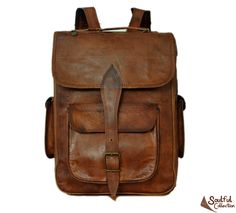 """Leather Satchel Backpack 14"""" from Soulful Collection"""