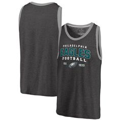 Philadelphia Eagles Pro Line by Fanatics Branded Refresh Tri-Blend Ringer Tank Top - Black