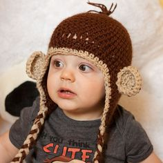 """Crochet """"Curious George"""" Style Monkey Hat with Earflaps"""