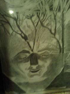 """Pencil Drawing, Title: Floating in Moonlight"""" Artist: Me"""