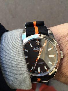 Rolex Milgauss Ref. 116400 with Nato Strap Black Orange