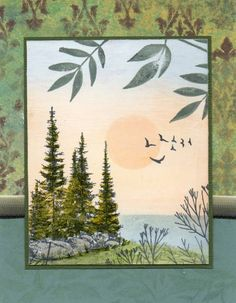 MIchigan Summer by Janelli - Cards and Paper Crafts at Splitcoaststampers.  Like the layout.  Fairly easy scene to do.