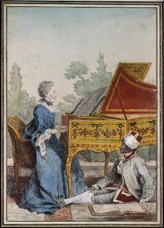 Mlle Desgots, de Saint Domingue, and her servant Laurent, 1766 by Louis Carrogis Carmontelle (1717-1806)