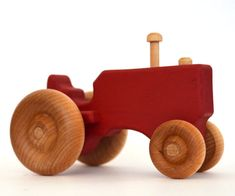 Red Tractor  Waldorf Wood Toy  Pretend Play  by hcwoodcraft, $15.00
