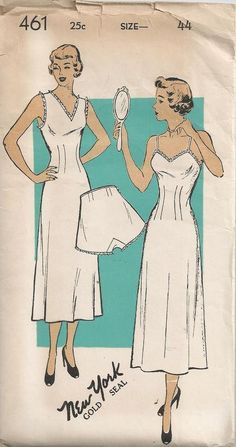 1940s New York Pattern 461 Full Slip and Panties Size by Redcurlzs, $15.00