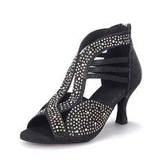 80478a4784e81   40.49  Femme Chaussures Latines   Chaussures de Salsa Paillette Brillante  Sandale   Talon Strass   Paillette Brillante Talon Bobine Personnalisables  ...