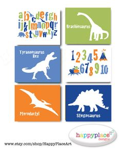 CUSTOM Dinosaur Art for Boys Bedroom with Alphabet and Numbers. Printable Wall Art for Child's Bedroom or Nursery - JPEG files
