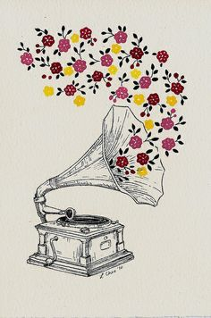 beautiful, flowers, illustration, music, pattern art-love