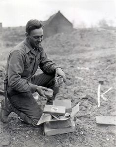An American soldier with Christmas presents from home