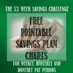 Free 52 Week Savings Challenge Charts Based on Your PayPeriod -