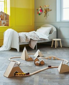 Eisenbahn Laufbahn DIY Kinderzimmer Karton Landschaft Gebirge