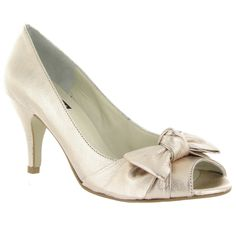Gold leather Peep Toe Court Shoe, Was £120, Now £96 #WeddingStyle #Bows