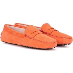 Tod's Gommini Suede Loafers ($420) ❤ liked on Polyvore featuring shoes, loafers, orange, tods loafers, orange suede shoes, tods shoes, loafer shoes and suede leather shoes