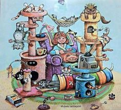 "CAT CHAT: Cat Artist/Cartoonist Extraordinaire: Gary Patterson, ""Better than a batch of fresh catnip"" Crazy Cat Lady, Crazy Cats, I Love Cats, Cool Cats, She And Her Cat, Gary Patterson, Gatos Cats, Photo Chat, Lots Of Cats"