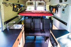 Removable bed platform over rear storage area Van Conversion Cabinets, Van Conversion Walls, Van Conversion Interior, Camper Van Conversion Diy, Van Interior, Cargo Trailer Conversion, Sprinter Van Conversion, Custom Camper Vans, Diy Camper