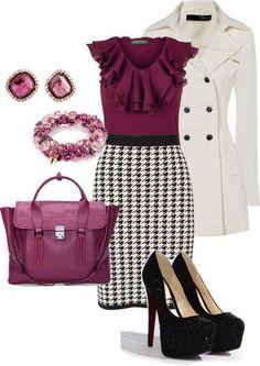 Calça branca e casaco xadrez