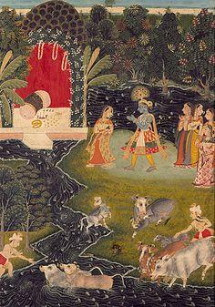 Krishan and gopis, dalliance in vrindavan . India 1725