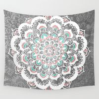 Wall Tapestries featuring Pastel Floral Medallion on Faded Silver Wood by Tangerine-Tane