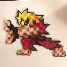 Ken Street Fighter perler beads by thatperlernerd