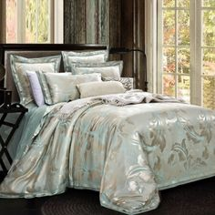 Taupe Gray and Light Turquoise Rococo Pattern Fern Leaf High Gloss Shabby Chic Southwestern Style Luxury Full, Queen Size Bedding Sets