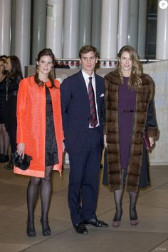 (L-R) Princess Marie Astrid with her youngest brother Prince Josef-Emmanuel and oldest sister Princess Maria-Annunciata of Liechtenstein attend the birthday celebration of Grand Duke Jean of Luxembourg, 9 January Prince Albert Of Monaco, Prince Hans, Grand Duc, Le Cordon Bleu, Restaurant New York, Queen Maxima, Royal House, Traditional Outfits, Duke