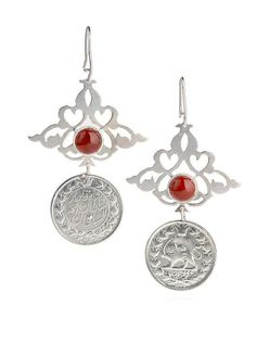 Persian silver eslimi and vinate persian coin earrings