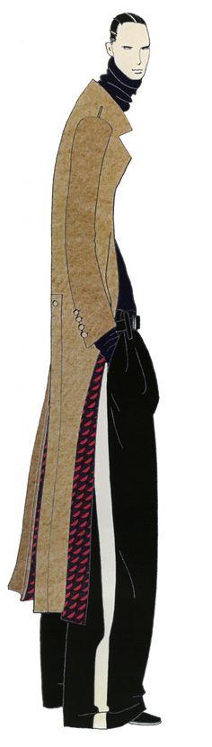Julian in Lanvin. London. JAA DESIGN original fashion illustration.