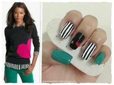 "STRIPES WITH HEART INSPIRED IN AN OUTFIT **FOR DETAILS FOLLOW MY BLOG OR DO ""LIKE"" TO MY FACEBOOK, would be great!! All comments are welcome!!! https://www.facebook.com/glamstylenailsbycarolina **"