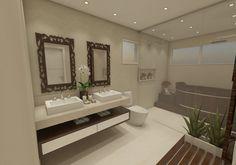 Banheiro com linhas contemporâneas e com uma paleta de cores com revestimentos naturais e neutros. Destaque para os espelhos com lindas molduras e o ofurô de madeira no fundo.