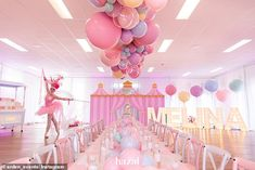 An Australian family have pulled out all the stops at their daughter's seventh birthday party, with Mediterranean catering, balloon installations and rides entertaining 80 guests on the day. Carnival Themed Party, Carnival Birthday Parties, Carnival Themes, Party Themes, Circus Party, Daughter Birthday, 1st Birthday Girls, Princess Birthday, Pastel Balloons