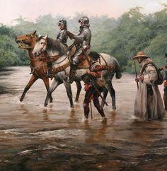 El conquistador a caballo, en el centro de la expedición pintada magistralmente por Ferrer-Dalmau
