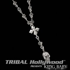 DAY+OF+THE+DEAD+SKULL+&+ROSES+ROSARY+Chain+with+King+Baby+3D+MB+Sterling+Silver+Cross