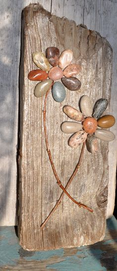 Together We Grow, pebble flowers, driftwood art, rock flowers, rock art,garden art, beach art, great lakes stones,