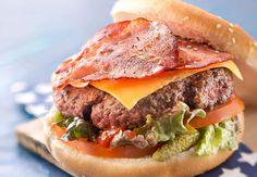 Hamburger au baconVoir la recette du Hamburger au bacon >>                                                                                                                                                                                 Plus