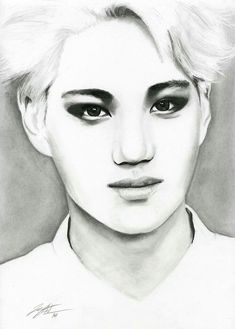 Ink, Charcoal and Graphite Bristol Paper Kai :: Overdose Kai Arts, Exo Anime, Exo Fan Art, Hand Art, Kpop Fanart, Fantastic Art, Over Dose, Painting & Drawing, Art Reference