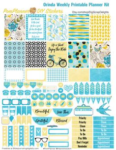 Orinda Weekly Printable Planner Kit 2 PDFs by DigiScrapDelights #printable #plannerlove #plannerdecoration #planneraddict #plannerstickers #organization