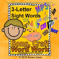 Give your kids the sight word repetition they need, and start with the easy words—3-letter sight words. Includes 3-letter sight words in a melodic MP3 song, a car-shaped sight words craft--that stands upright--and word work. The Sight Words Song features 37 words with a soothing lullaby sound and a soft beat.