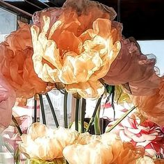 Large Organza Flowers for weddings or home decor complete of high stem. Diameter from 30 cm to 60 cm, height from 120 to 180 cm