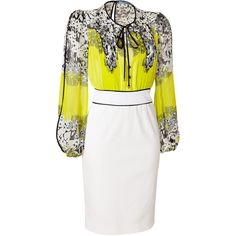 BLUMARINE White/Lemon/Multi Silk Dress ($1,610) ❤ liked on Polyvore