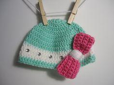 Oversized Bow Crochet Baby Beanie / Photo Props / Girls hat / Etsy Baby / Crochet Bebe / Handmade gift ideas. $22.00, via Etsy.