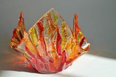 Flaming Fire Vase Fused Glass Candleholder by JacksonGlassMill