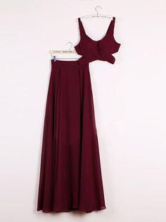 Two Piece Prom Dresses A-line Floor-length Burgundy Chiffon Cheap Prom Dress JKL485
