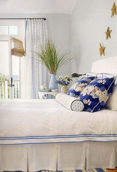 Bedroom pale blues and white mixed with dark cobalt blue.  Lovely!