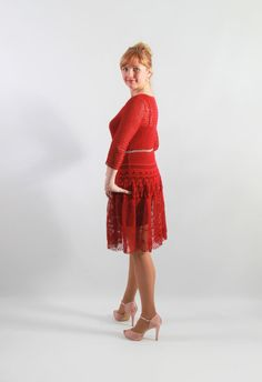 Striking beauty woman red dress, hand-crochet, long sleeves, scoop neckline, knee length, forgiving, great functionality: Elle JSOT3413193 by JSOT's HumanHeritage  Webshop: https://www.etsy.com/listing/227556042/striking-beauty-woman-red-dress-hand?ref=shop_home_active_17