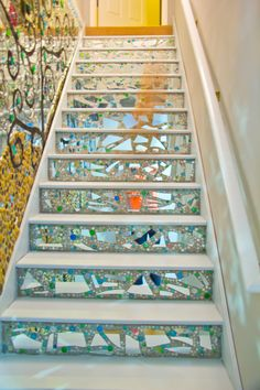 Mirror Mosaic steps to basement- Mosaic Stairs, Mosaic Walkway, Mirror Mosaic, Mosaic Tiles, Tiling, Stair Art, Stair Decor, Exterior Stairs, Interior And Exterior
