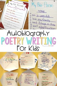 Do you have your poetry writing activities and lessons planned for the school year and poetry month? Teach children how to write bio poems about themselves and create a unique writing display. Grab FREE poetry templates for kids to plan and write their own bio poems. #poetryforkids #poetrywriting #poemsforkids #poemoftheweek #teachingwriting